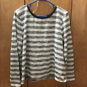 Sparkly White And Blue Stripes Sweater